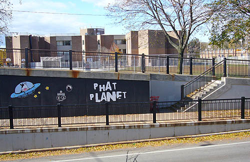 Black wall of an underpass shows a spacecraft piloted by a cow and the words PHAT PLANET